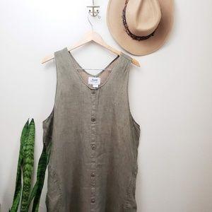 FLAX Linen Green Sleeveless Long Dress Pockets